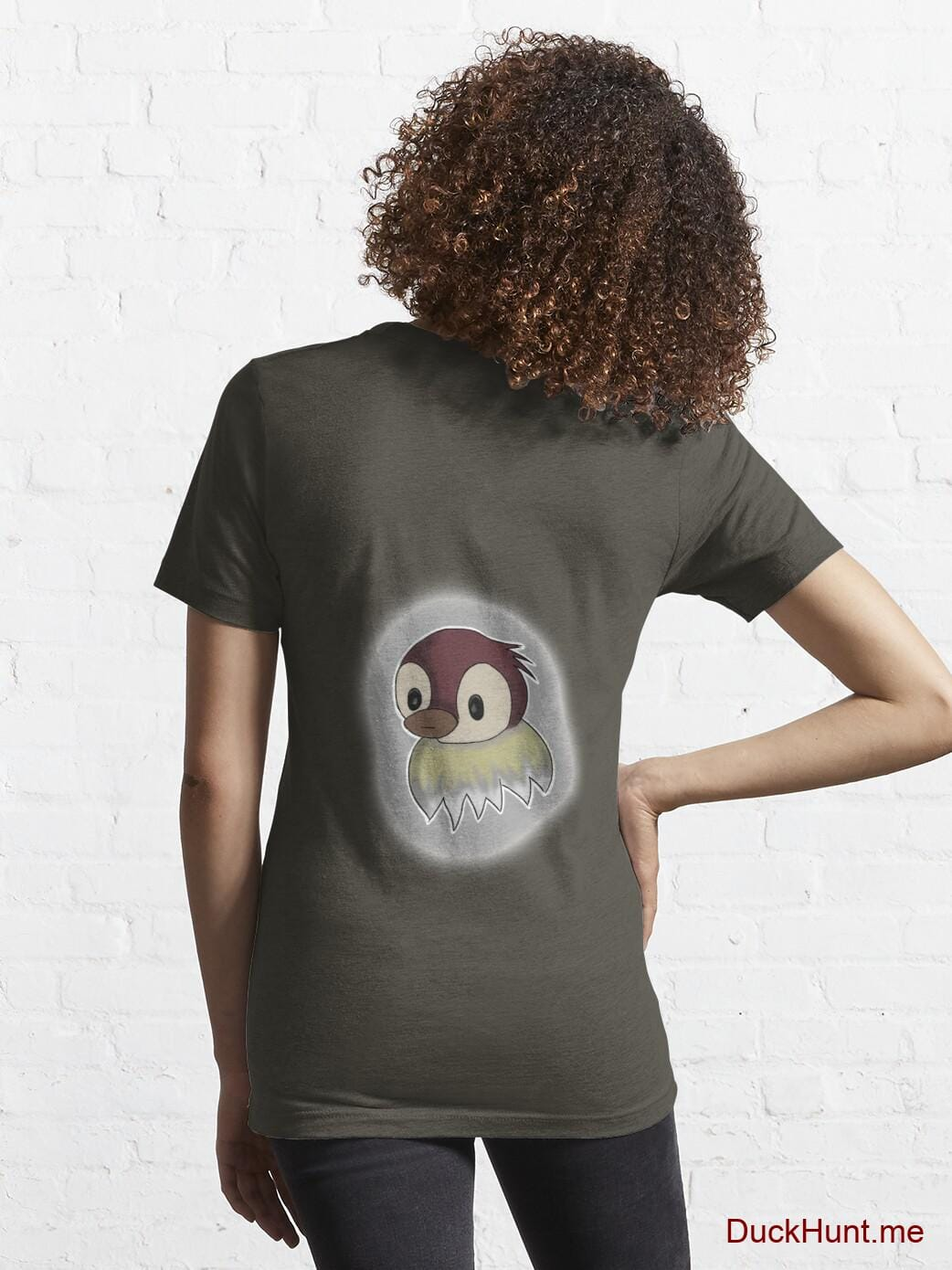 Ghost Duck (foggy) Army Essential T-Shirt (Back printed) alternative image 4