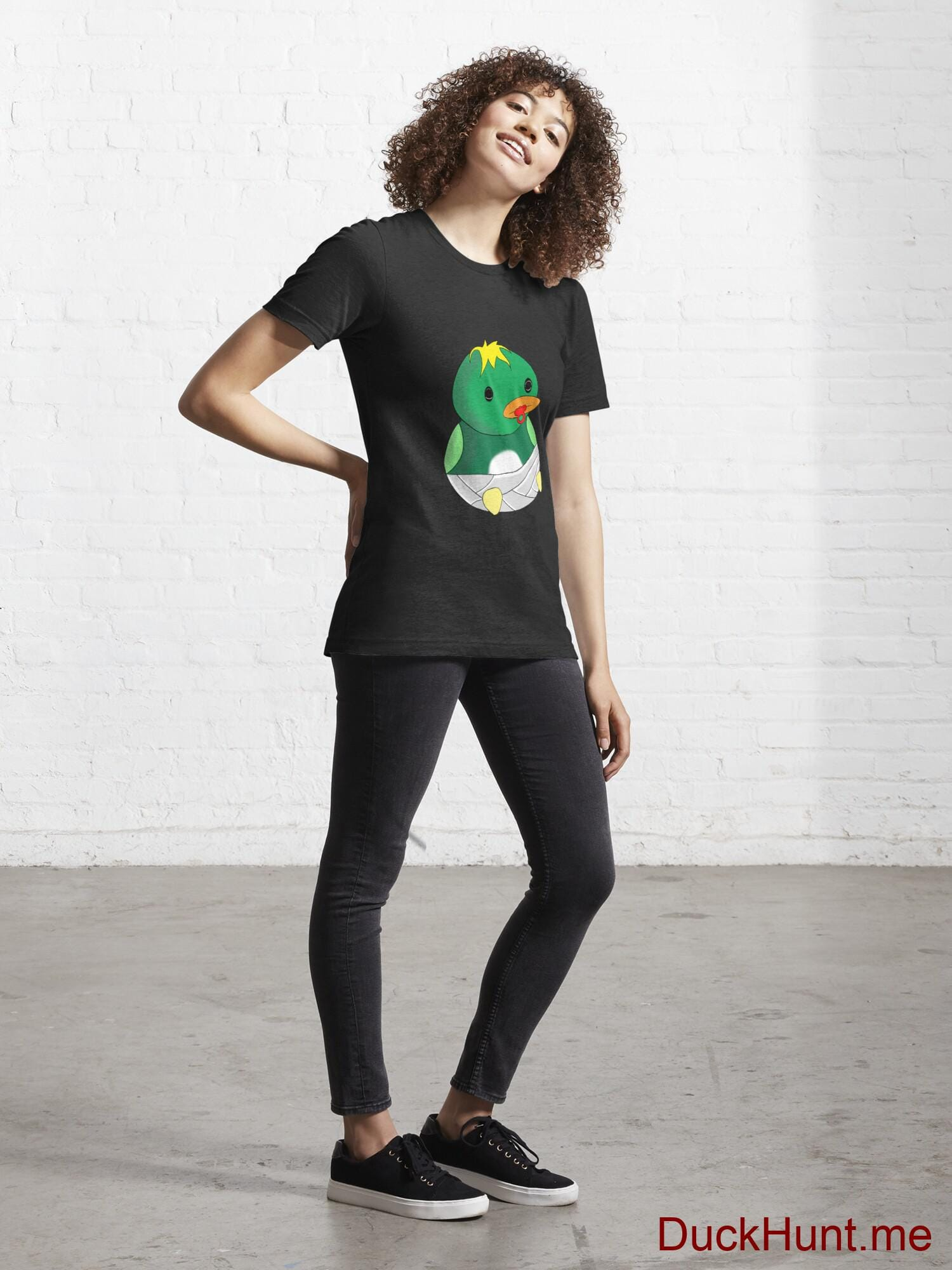 Baby duck Black Essential T-Shirt (Front printed) alternative image 3