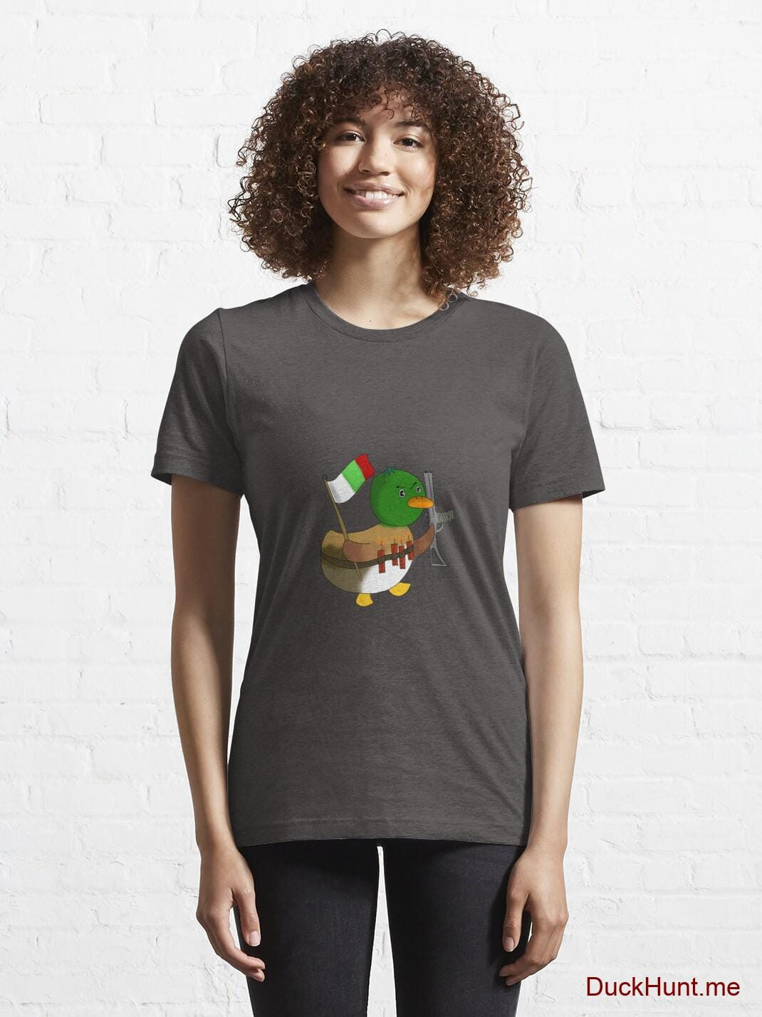 Kamikaze Duck Charcoal Heather Essential T-Shirt (Front printed) alternative image 5