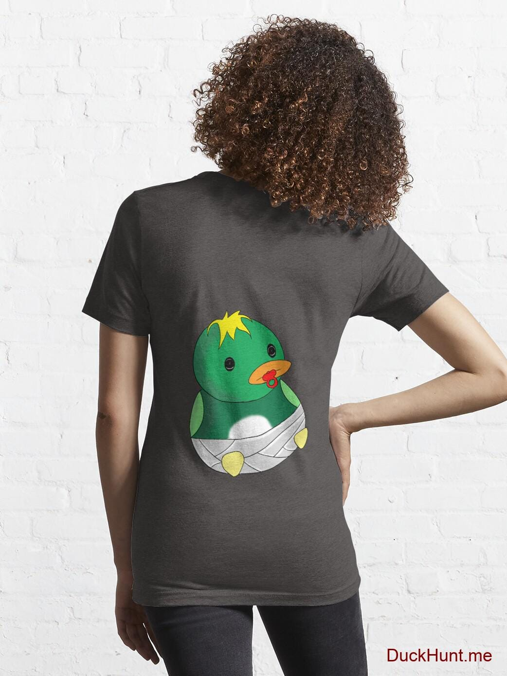Baby duck Charcoal Heather Essential T-Shirt (Back printed) alternative image 4