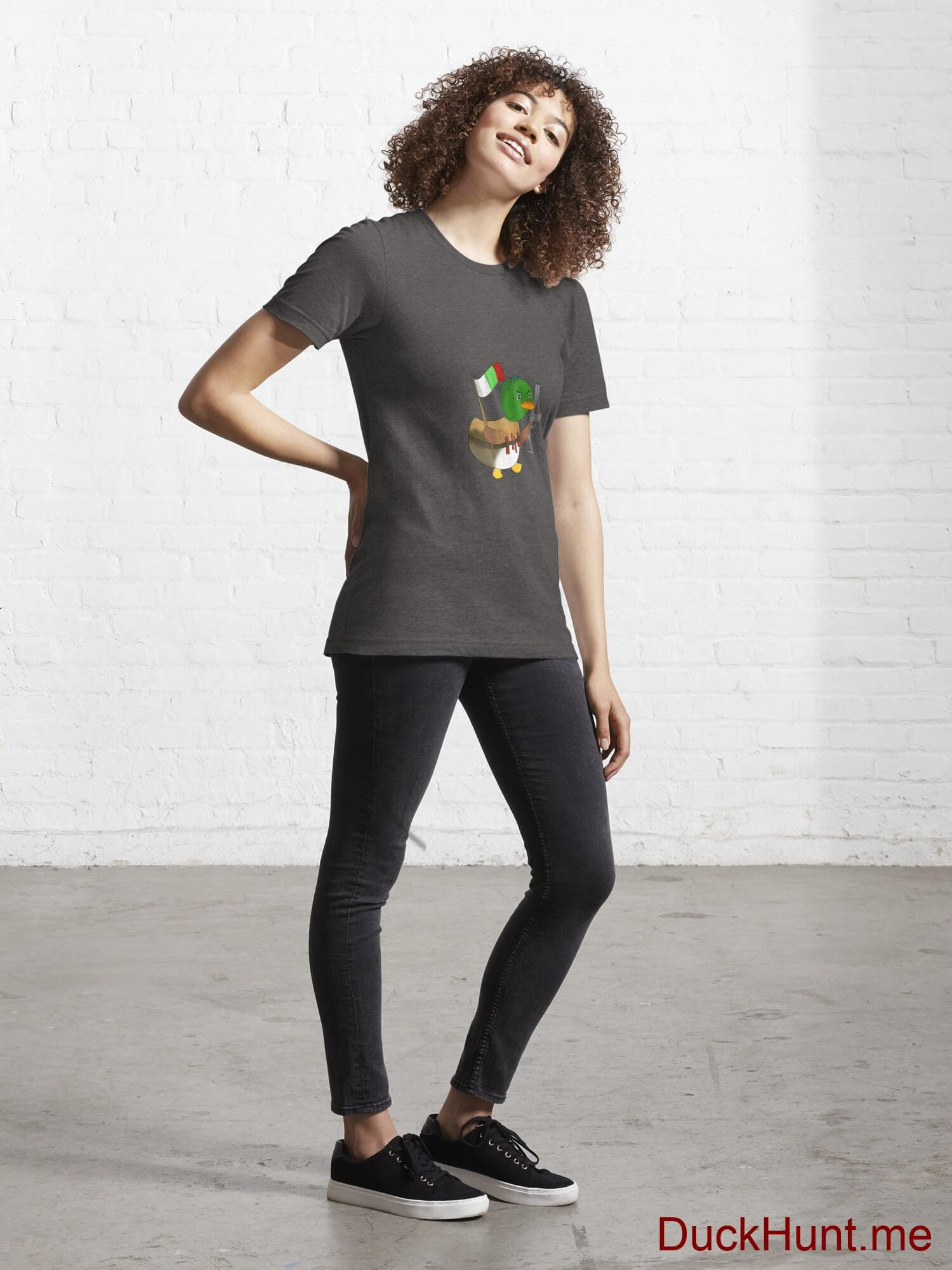 Kamikaze Duck Charcoal Heather Essential T-Shirt (Front printed) alternative image 3