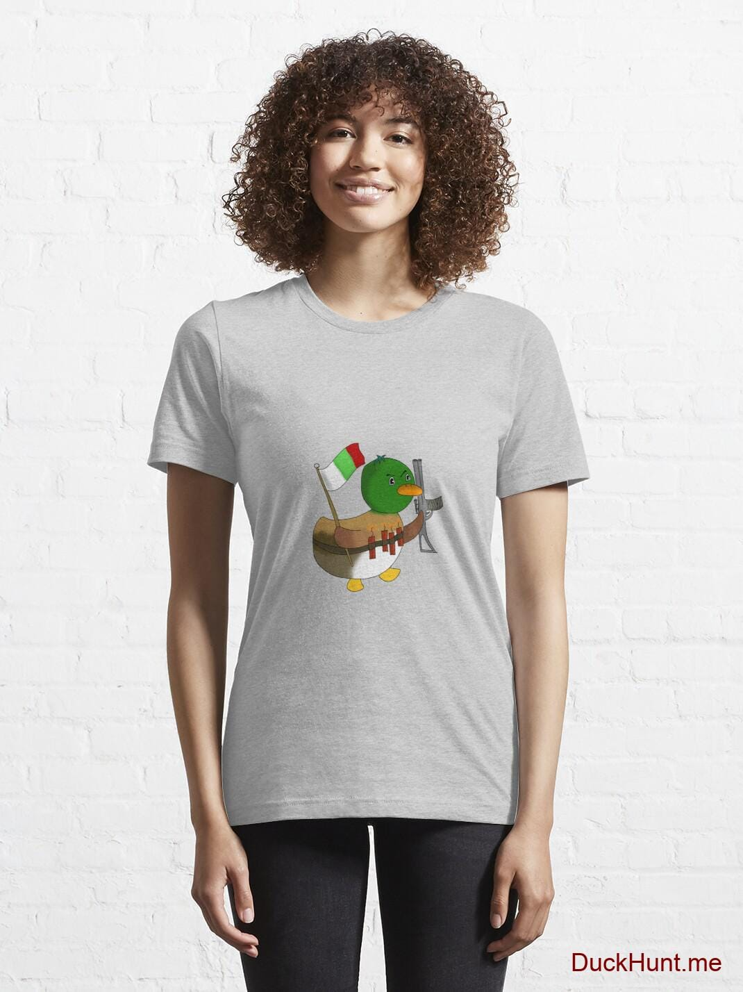 Kamikaze Duck Heather Grey Essential T-Shirt (Front printed) alternative image 5