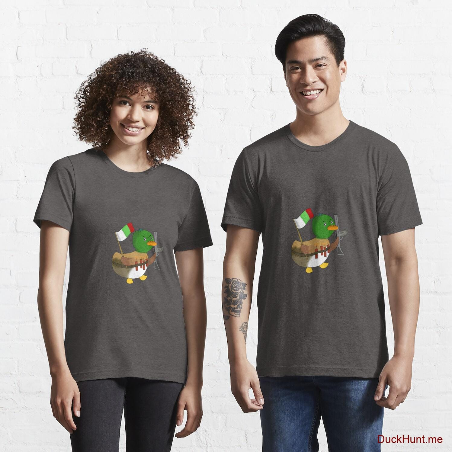 Kamikaze Duck Charcoal Heather Essential T-Shirt (Front printed)