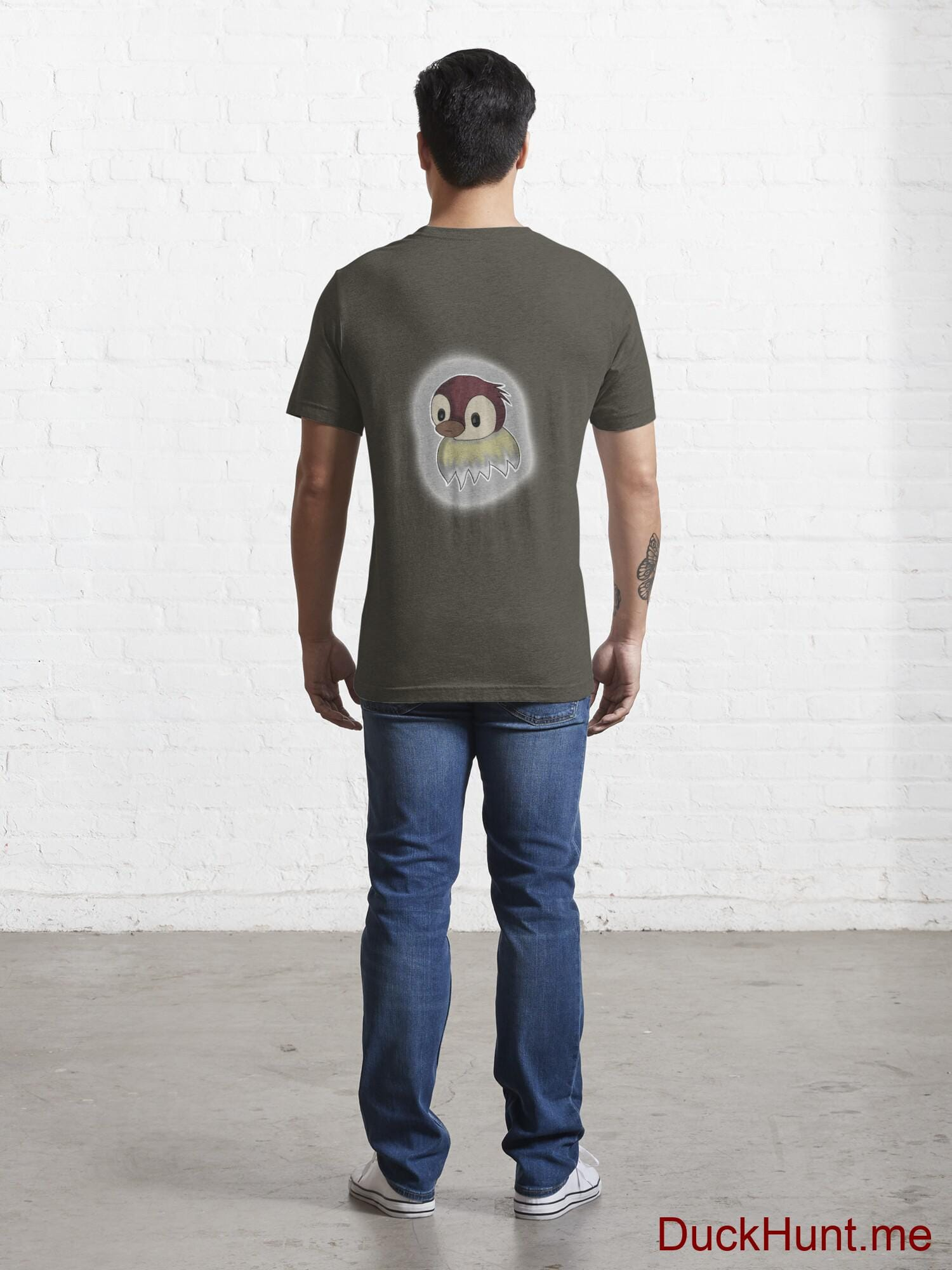 Ghost Duck (foggy) Army Essential T-Shirt (Back printed) alternative image 3