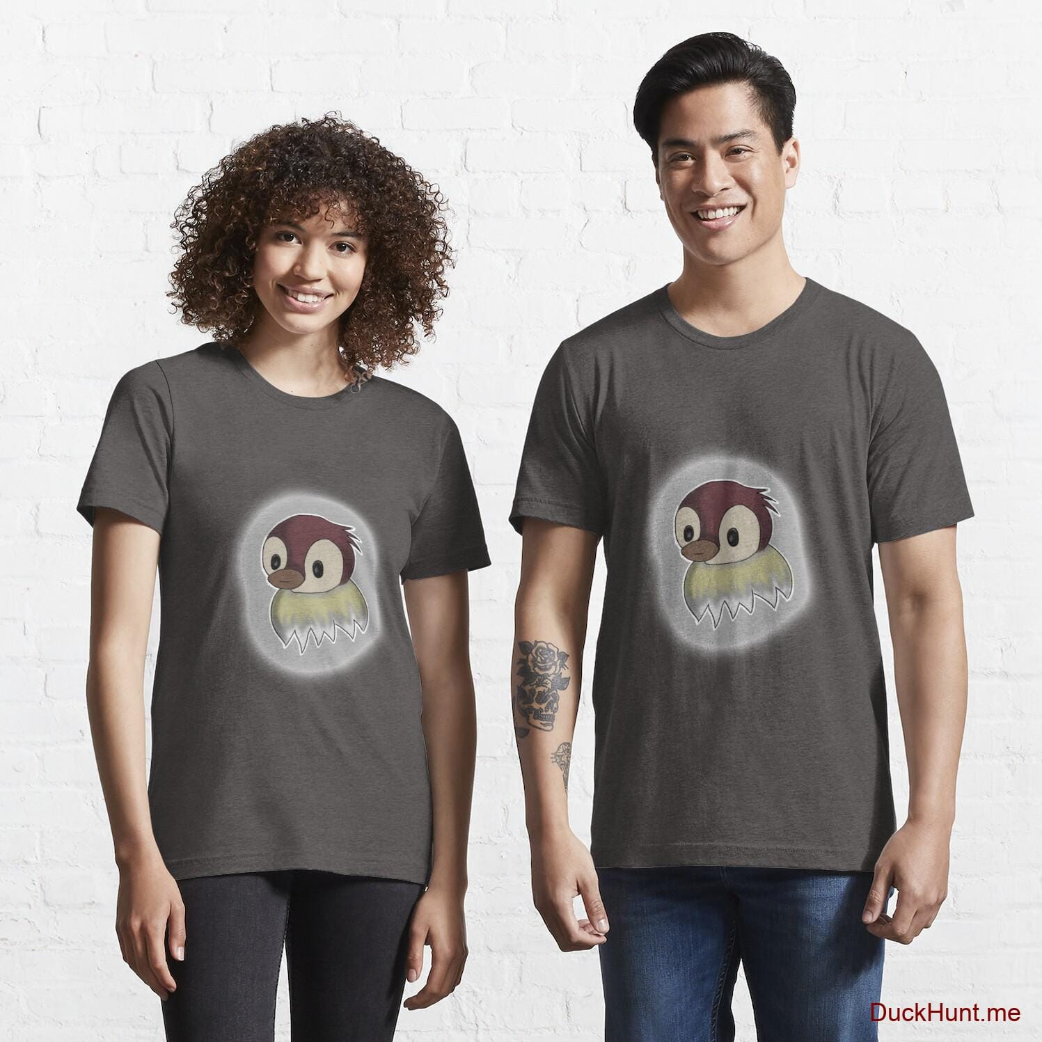 Ghost Duck (foggy) Charcoal Heather Essential T-Shirt (Front printed)