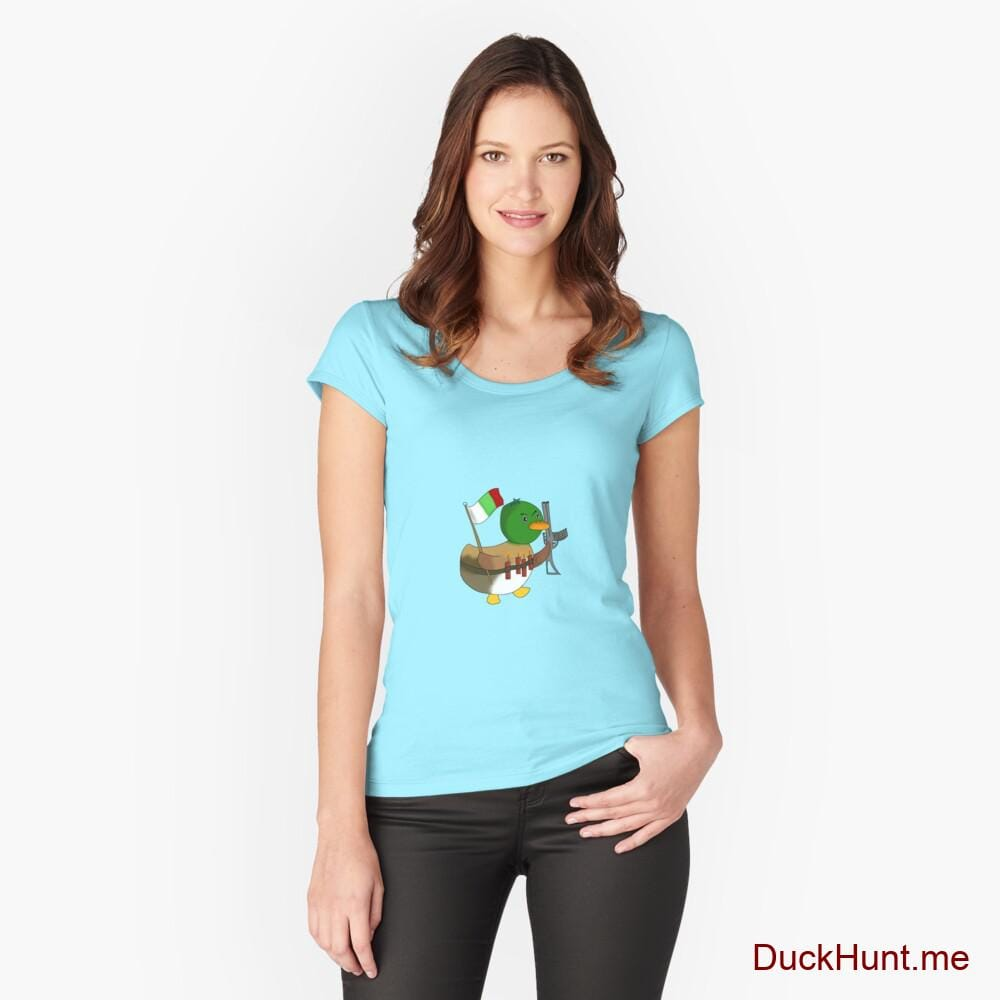 Kamikaze Duck Turquoise Fitted Scoop T-Shirt (Front printed)