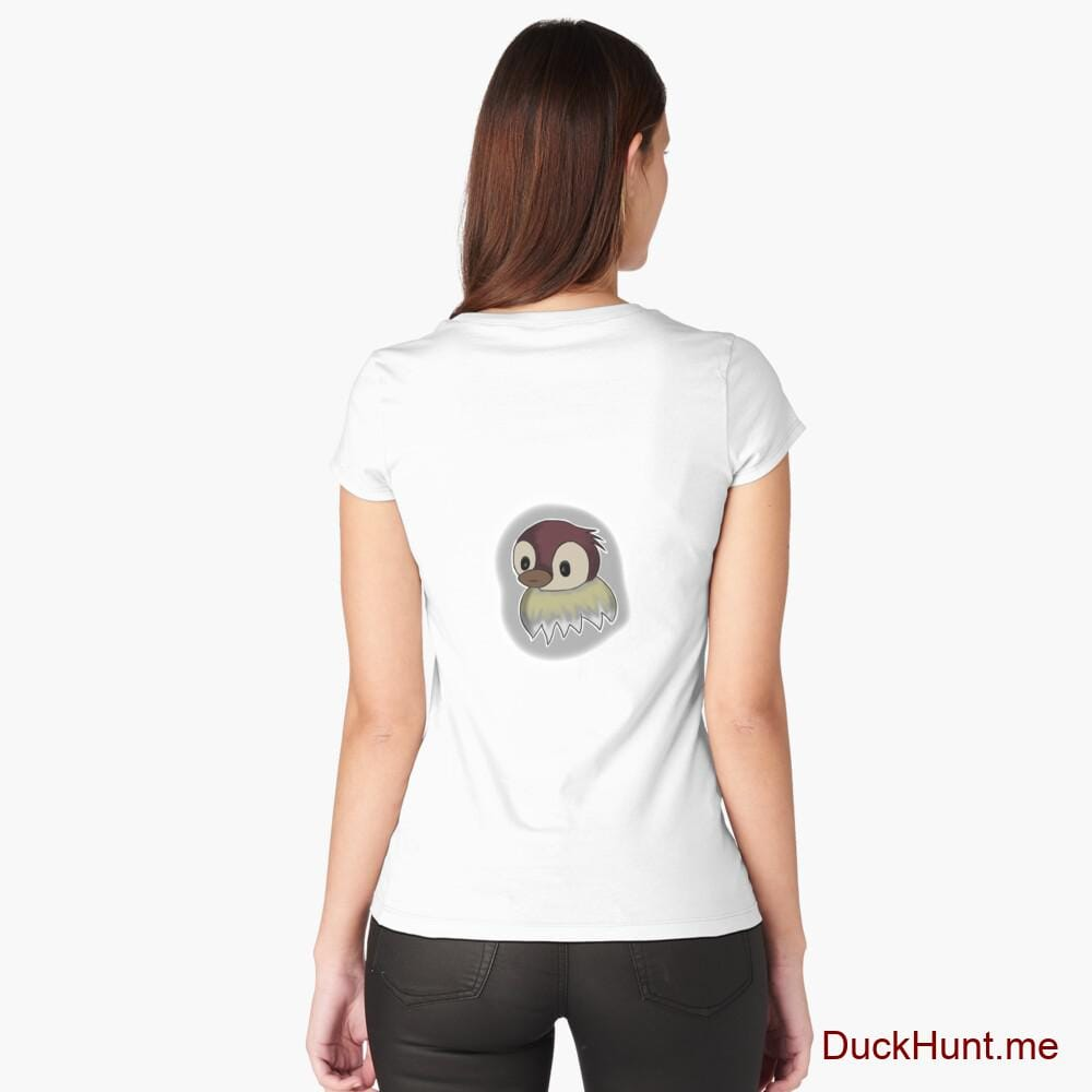 Ghost Duck (foggy) White Fitted Scoop T-Shirt (Back printed)
