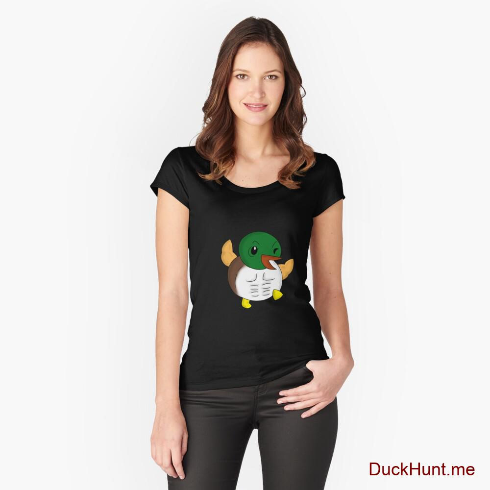 Super duck Black Fitted Scoop T-Shirt (Front printed)