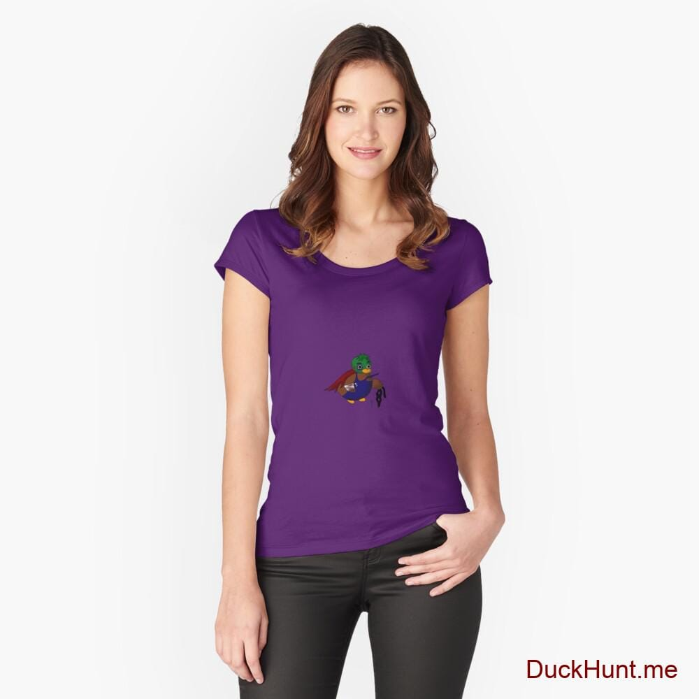 Dead DuckHunt Boss (smokeless) Purple Fitted Scoop T-Shirt (Front printed)
