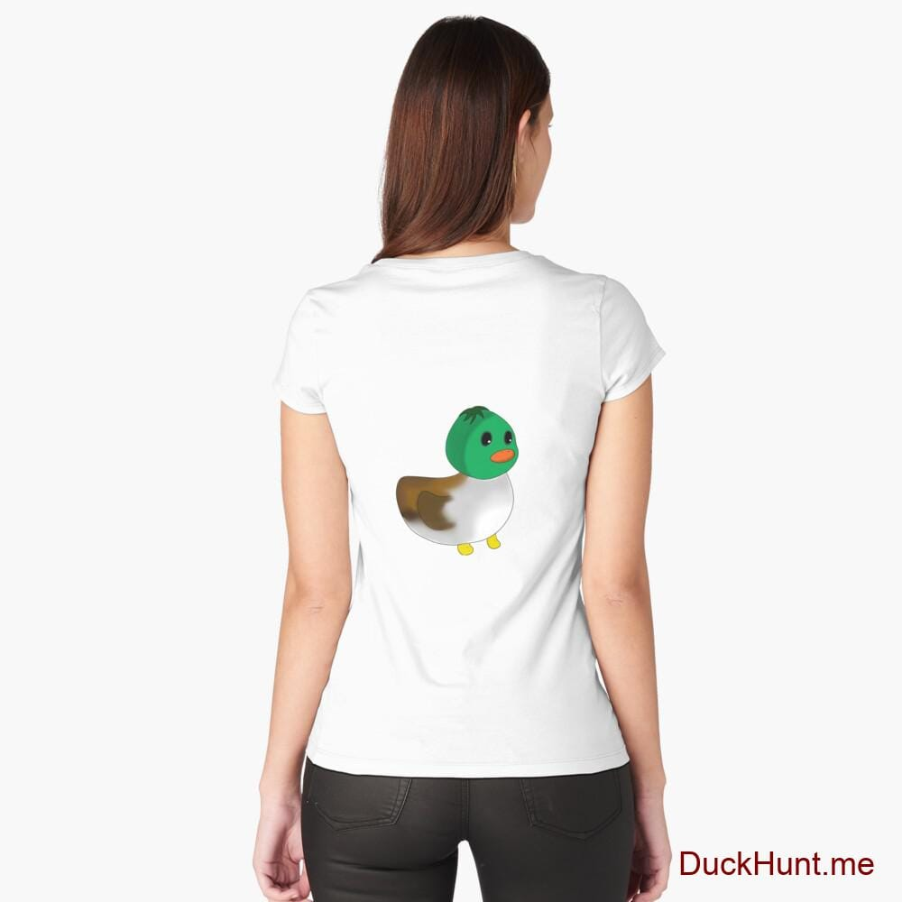 Normal Duck White Fitted Scoop T-Shirt (Back printed)