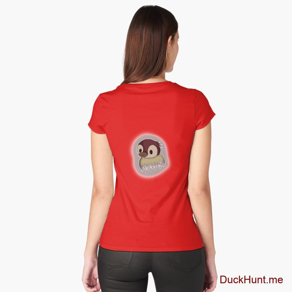 Ghost Duck (foggy) Red Fitted Scoop T-Shirt (Back printed)