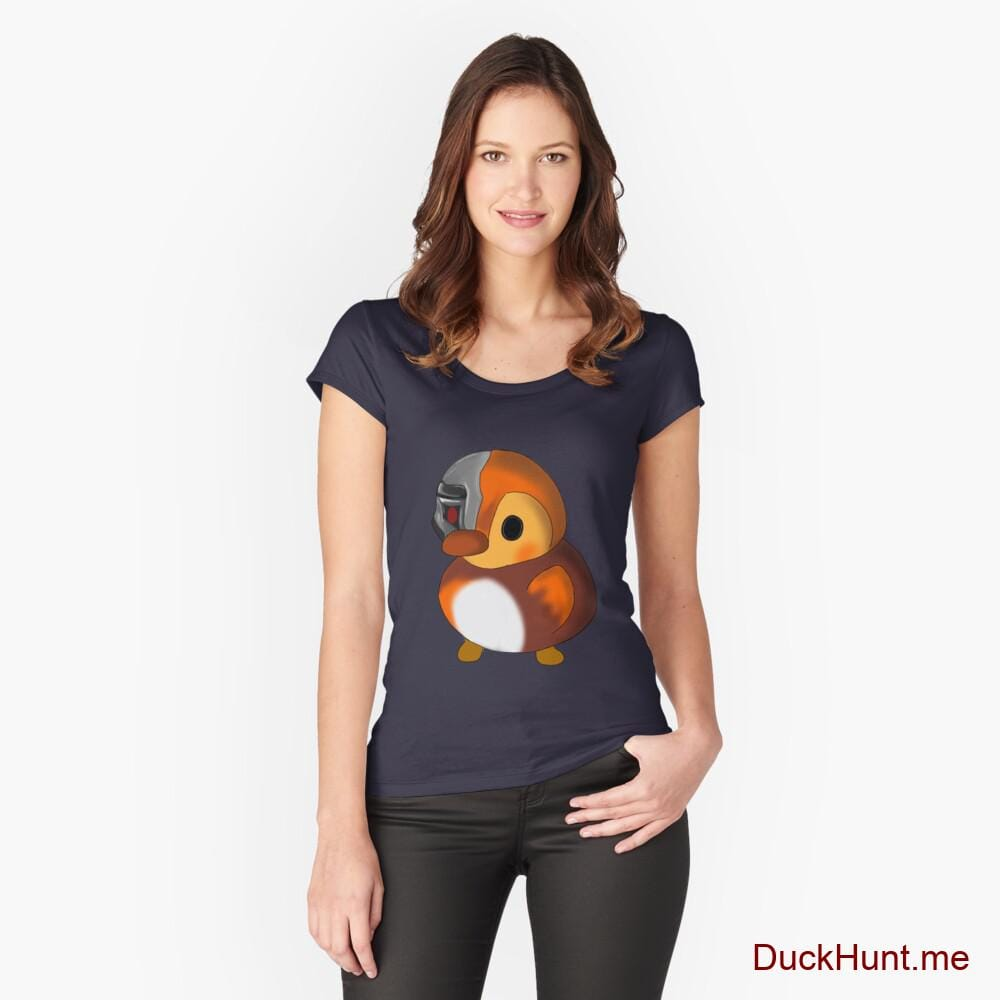 Mechanical Duck Navy Fitted Scoop T-Shirt (Front printed)