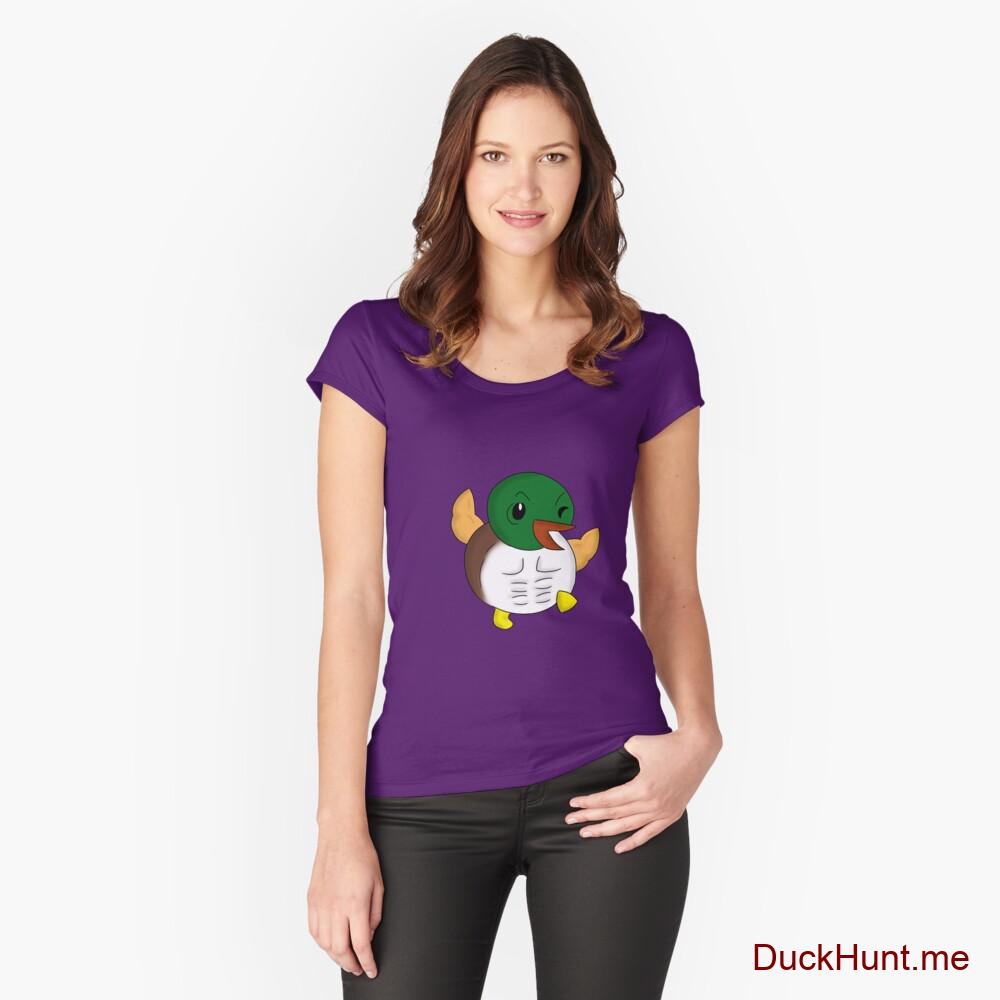 Super duck Purple Fitted Scoop T-Shirt (Front printed)