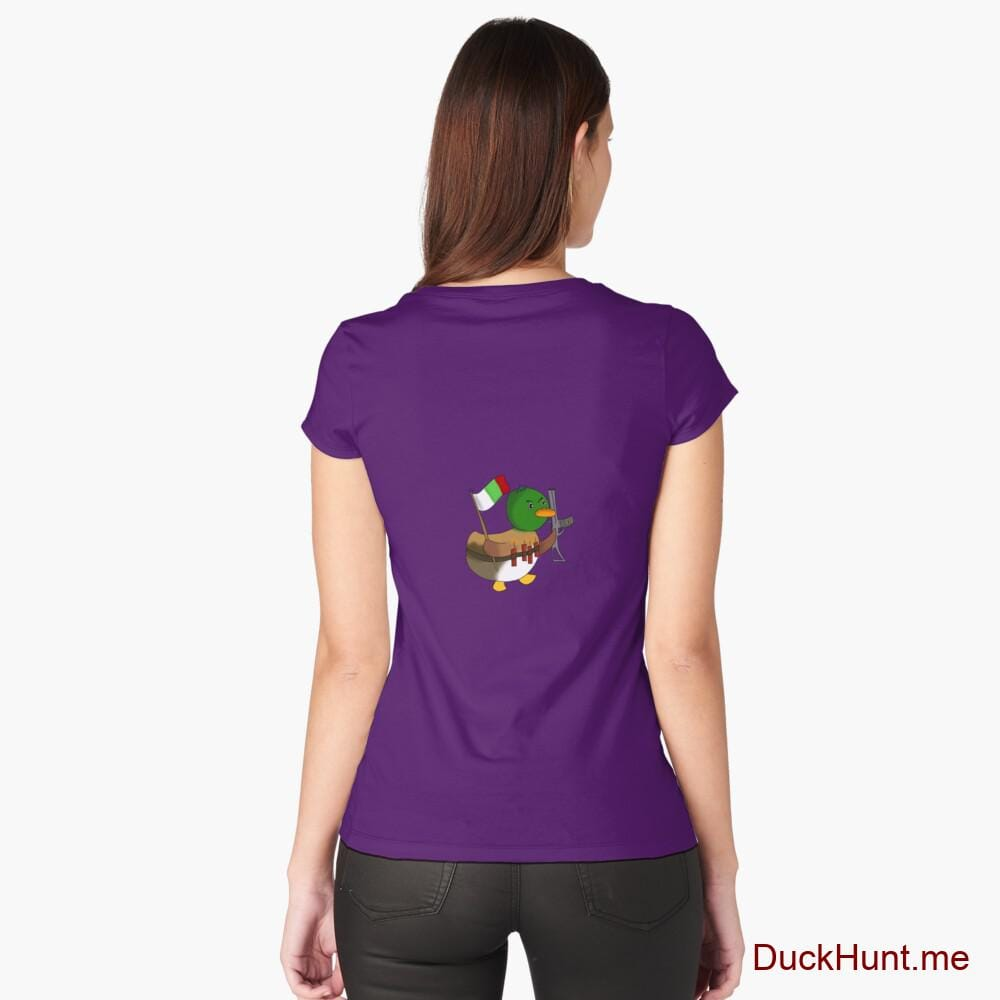 Kamikaze Duck Purple Fitted Scoop T-Shirt (Back printed)