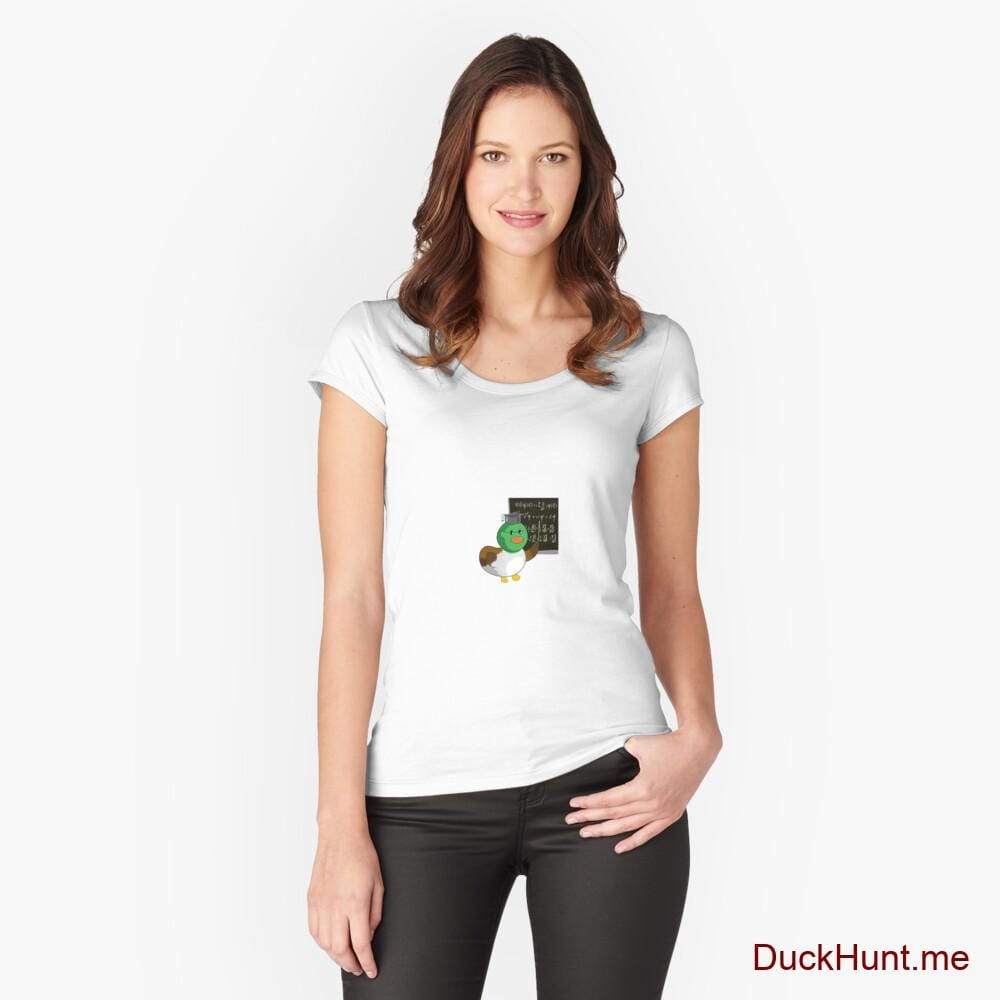 Prof Duck White Fitted Scoop T-Shirt (Front printed)