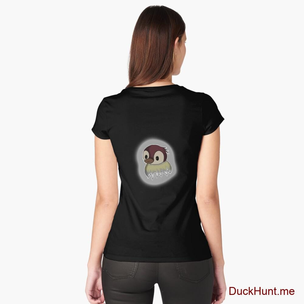 Ghost Duck (foggy) Black Fitted Scoop T-Shirt (Back printed)