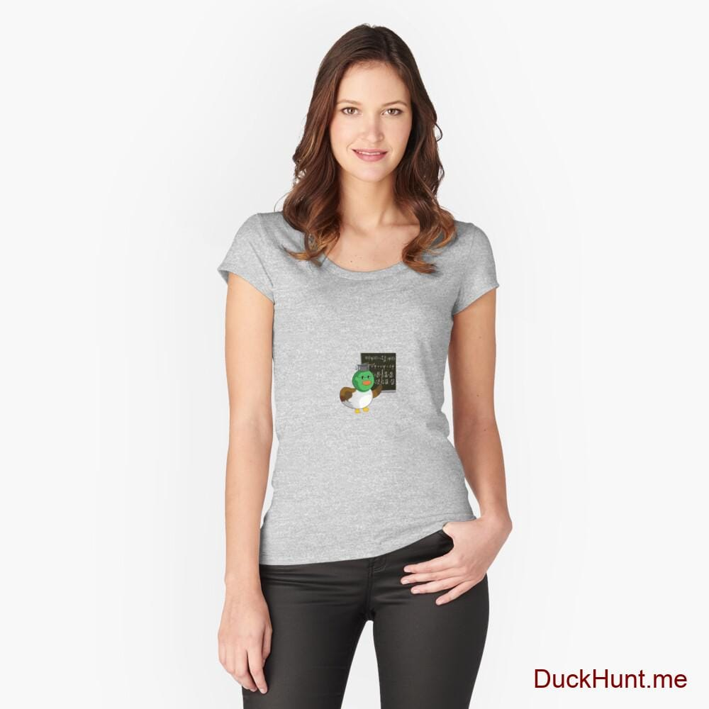 Prof Duck Heather Grey Fitted Scoop T-Shirt (Front printed)