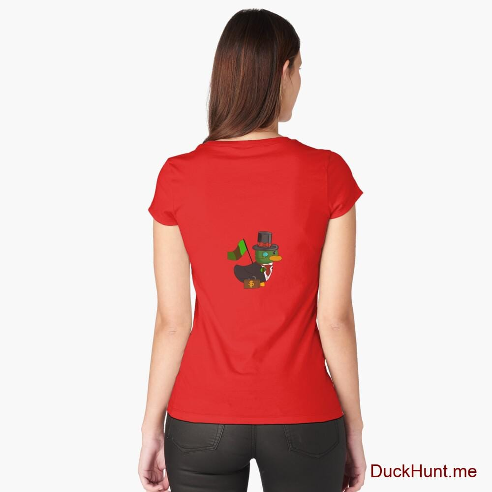 Golden Duck Red Fitted Scoop T-Shirt (Back printed)