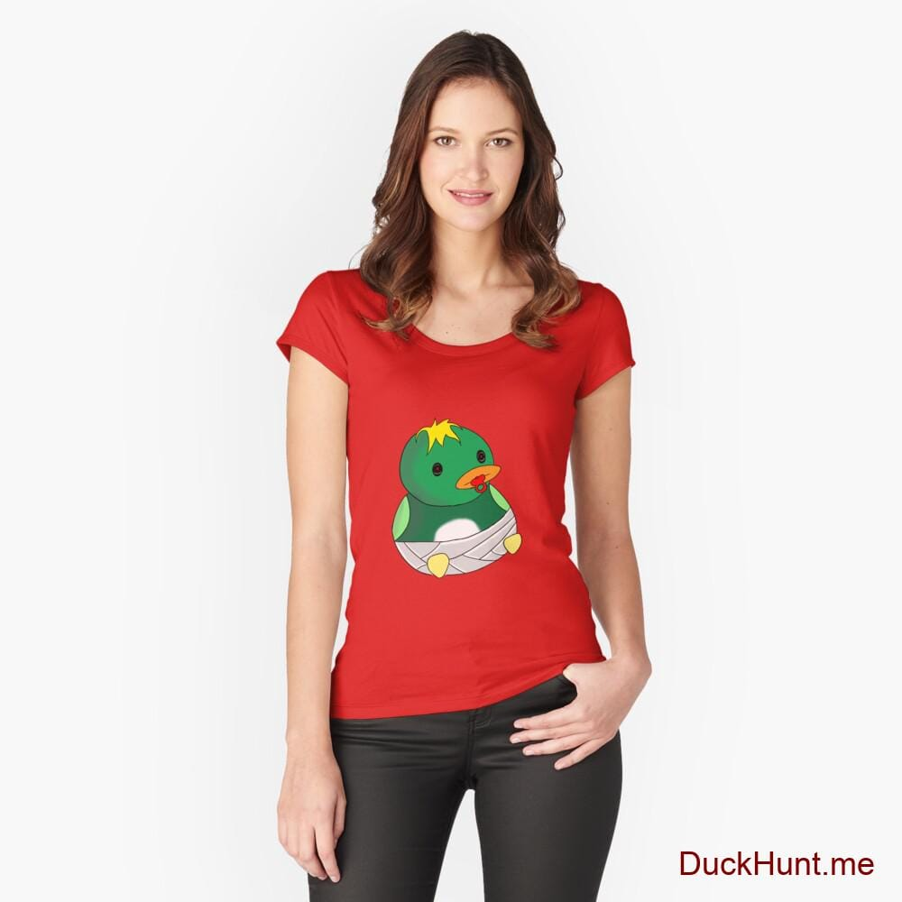 Baby duck Red Fitted Scoop T-Shirt (Front printed)