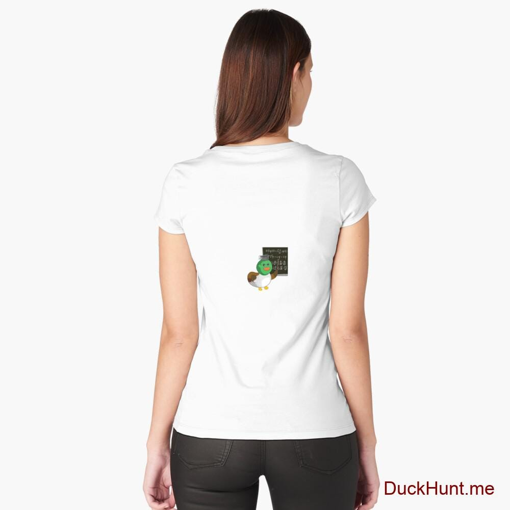 Prof Duck White Fitted Scoop T-Shirt (Back printed)