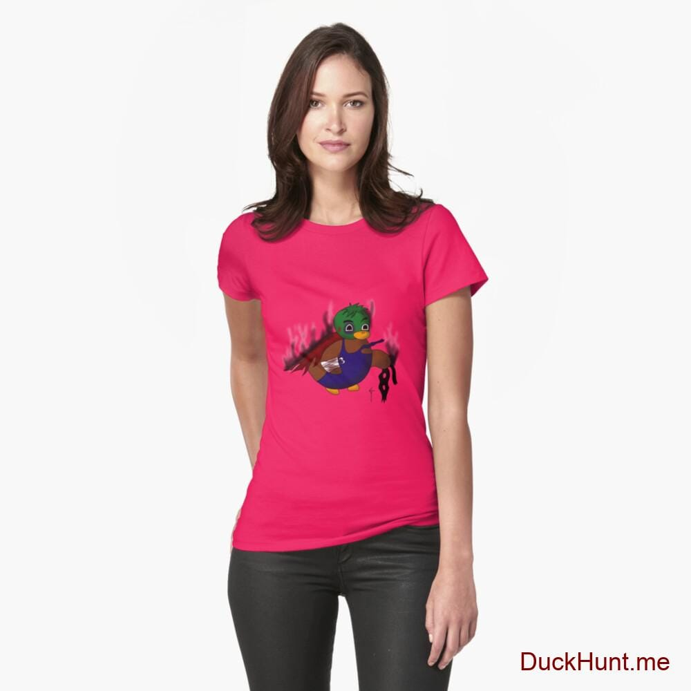 Dead Boss Duck (smoky) Berry Fitted T-Shirt (Front printed)