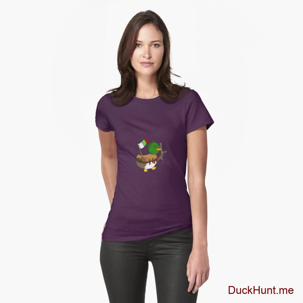 Kamikaze Duck Eggplant Fitted T-Shirt (Front printed)