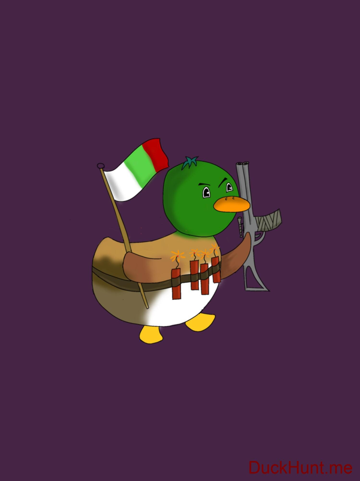 Kamikaze Duck Eggplant Fitted T-Shirt (Front printed) alternative image 1