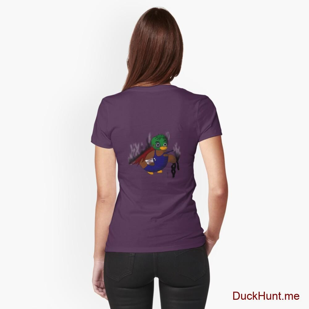 Dead Boss Duck (smoky) Eggplant Fitted T-Shirt (Back printed)
