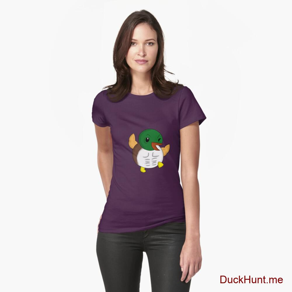 Super duck Eggplant Fitted T-Shirt (Front printed)