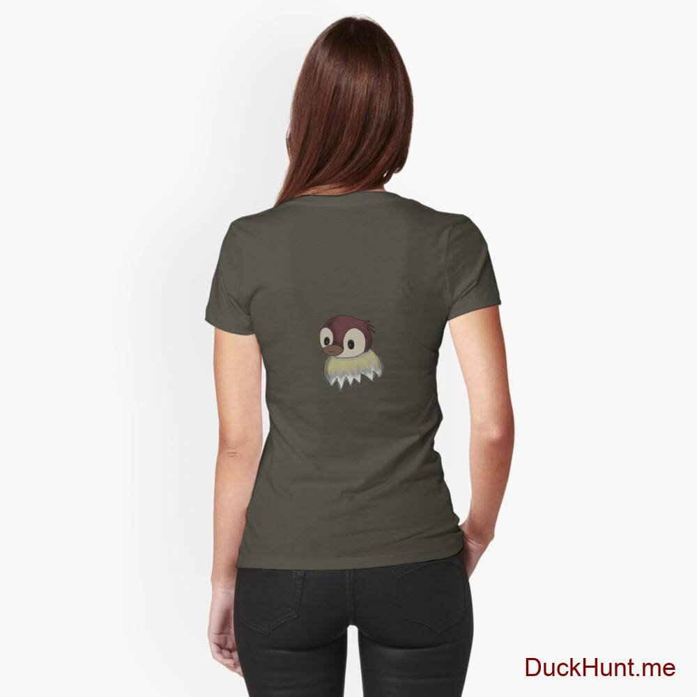 Ghost Duck (fogless) Army Fitted T-Shirt (Back printed)
