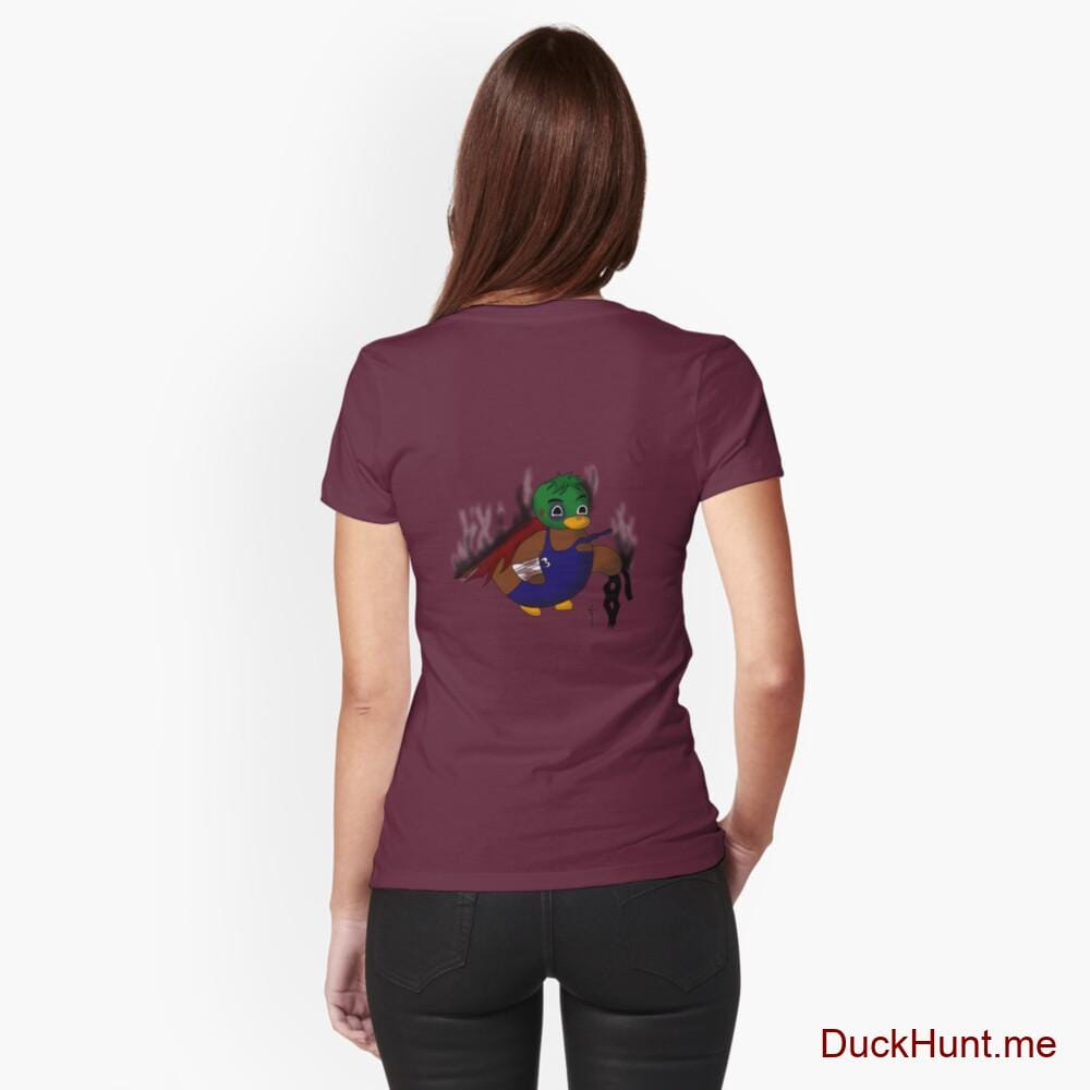 Dead Boss Duck (smoky) Dark Red Fitted T-Shirt (Back printed)