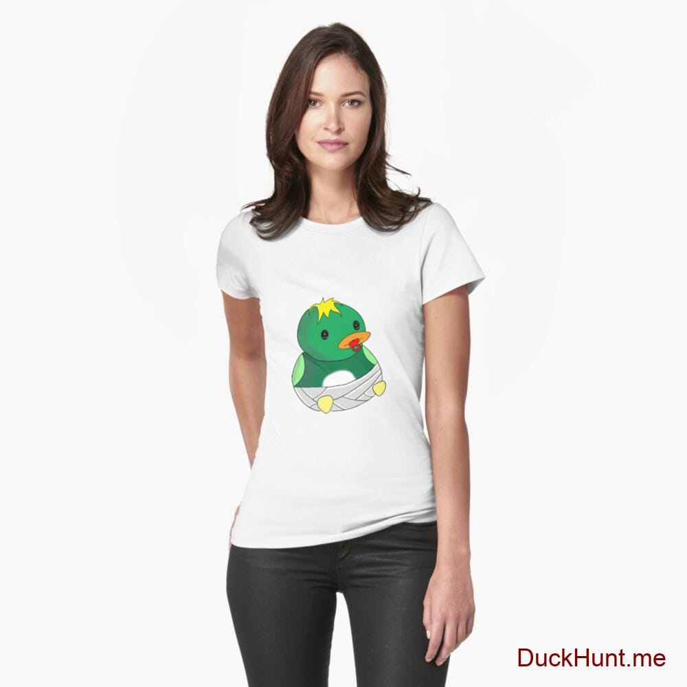 Baby duck White Fitted T-Shirt (Front printed)