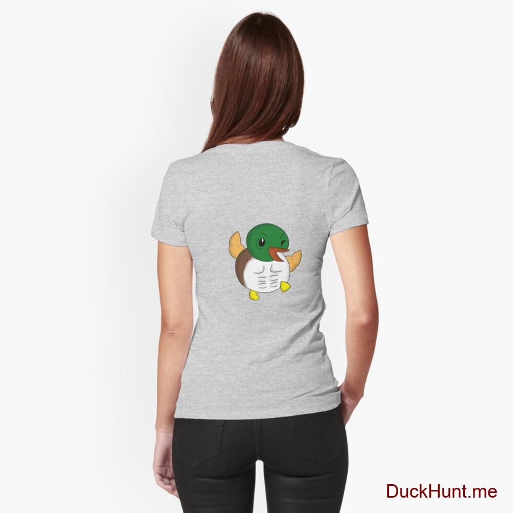 Super duck Heather Grey Fitted T-Shirt (Back printed)