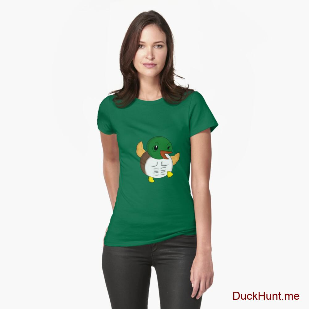 Super duck Green Fitted T-Shirt (Front printed)