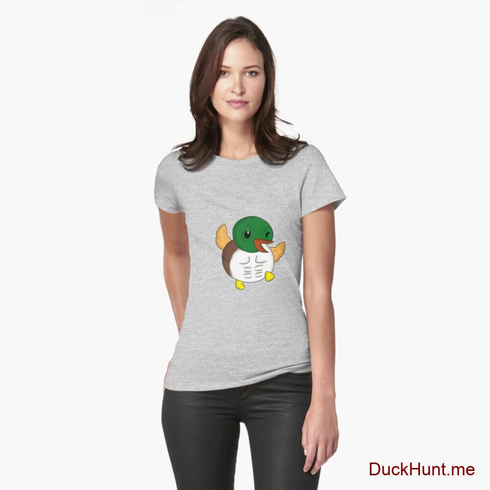 Super duck Heather Grey Fitted T-Shirt (Front printed)