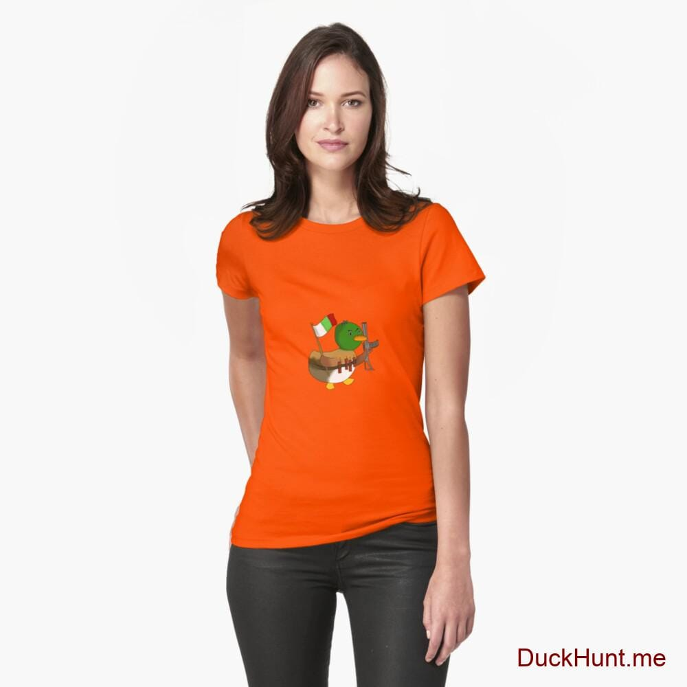 Kamikaze Duck Orange Fitted T-Shirt (Front printed)