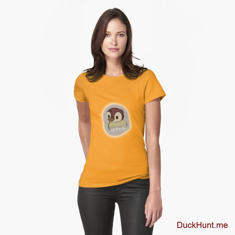 Ghost Duck (foggy) Gold Fitted T-Shirt (Front printed)