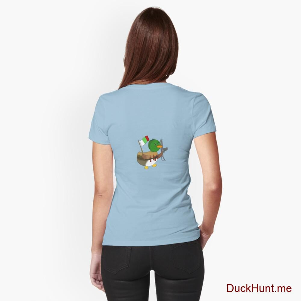 Kamikaze Duck Light Blue Fitted T-Shirt (Back printed)