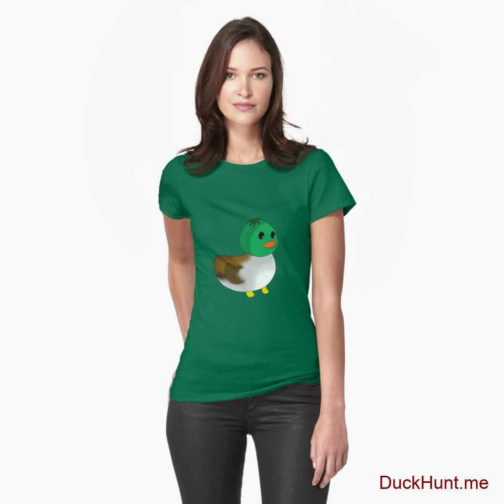 Normal Duck Green Fitted T-Shirt (Front printed)