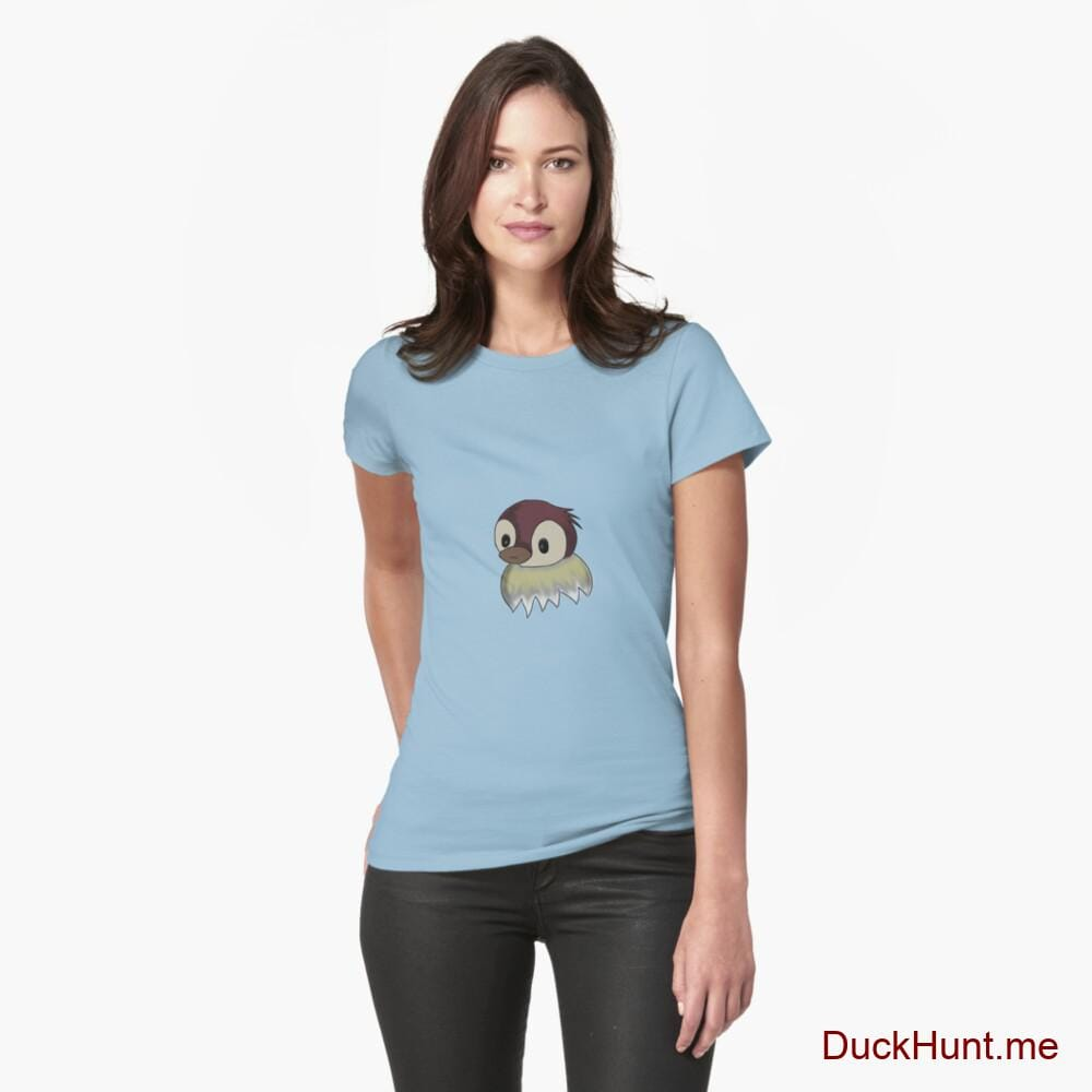 Ghost Duck (fogless) Light Blue Fitted T-Shirt (Front printed)