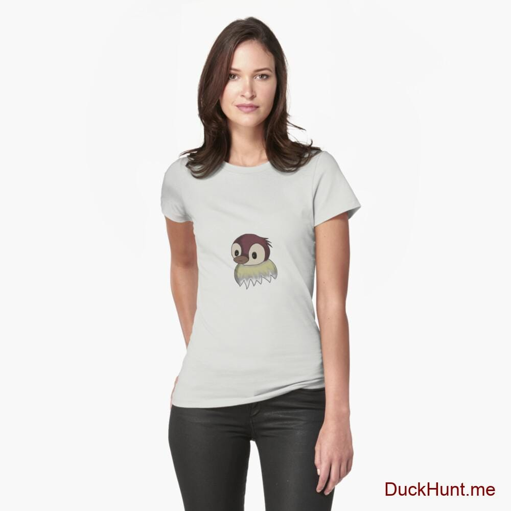 Ghost Duck (fogless) Light Grey Fitted T-Shirt (Front printed)