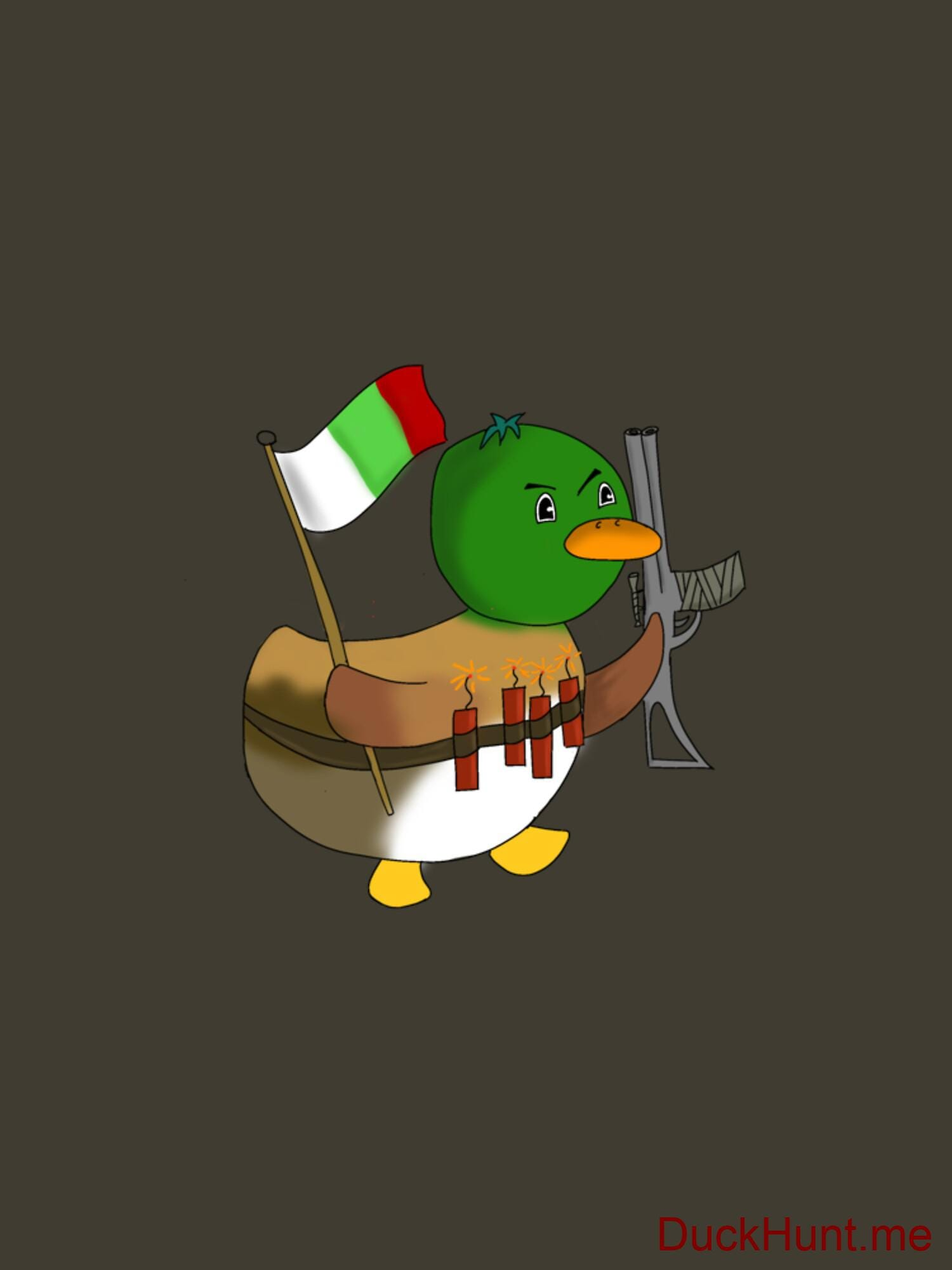 Kamikaze Duck Army Fitted T-Shirt (Back printed) alternative image 1