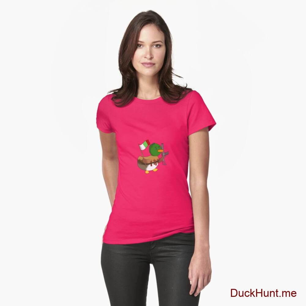 Kamikaze Duck Berry Fitted T-Shirt (Front printed)