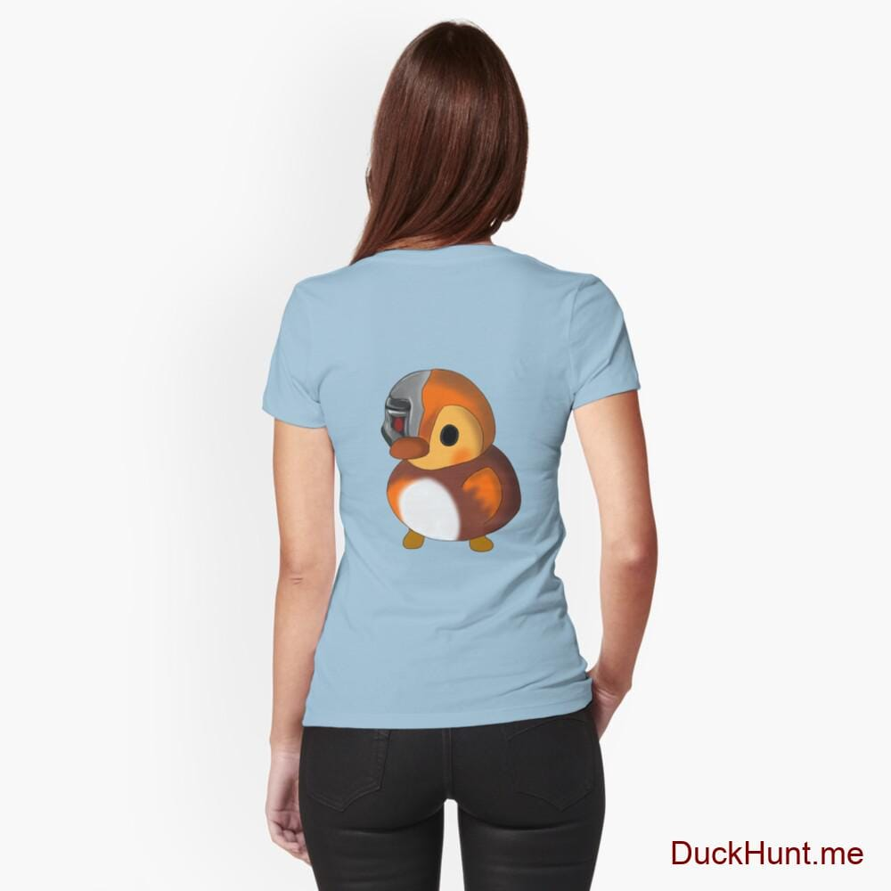 Mechanical Duck Light Blue Fitted T-Shirt (Back printed)