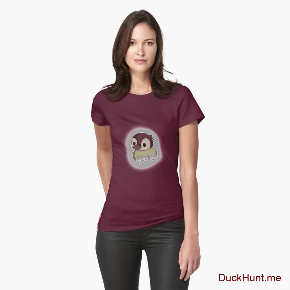 Ghost Duck (foggy) Dark Red Fitted T-Shirt (Front printed)