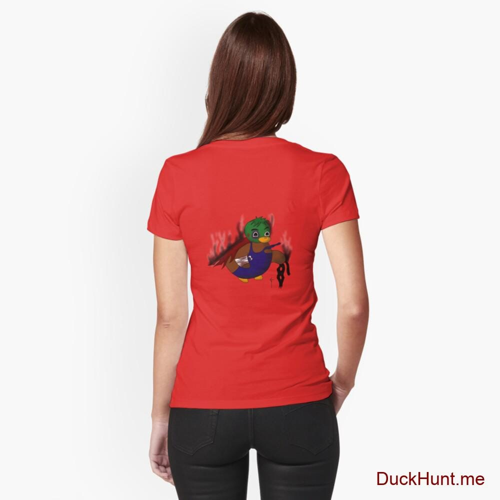 Dead Boss Duck (smoky) Red Fitted T-Shirt (Back printed)