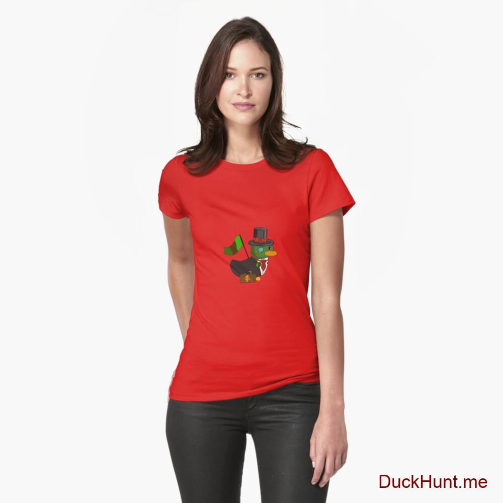Golden Duck Red Fitted T-Shirt (Front printed)