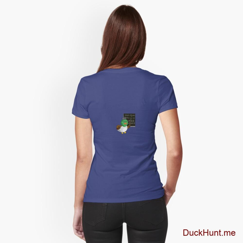 Prof Duck Blue Fitted V-Neck T-Shirt (Back printed)