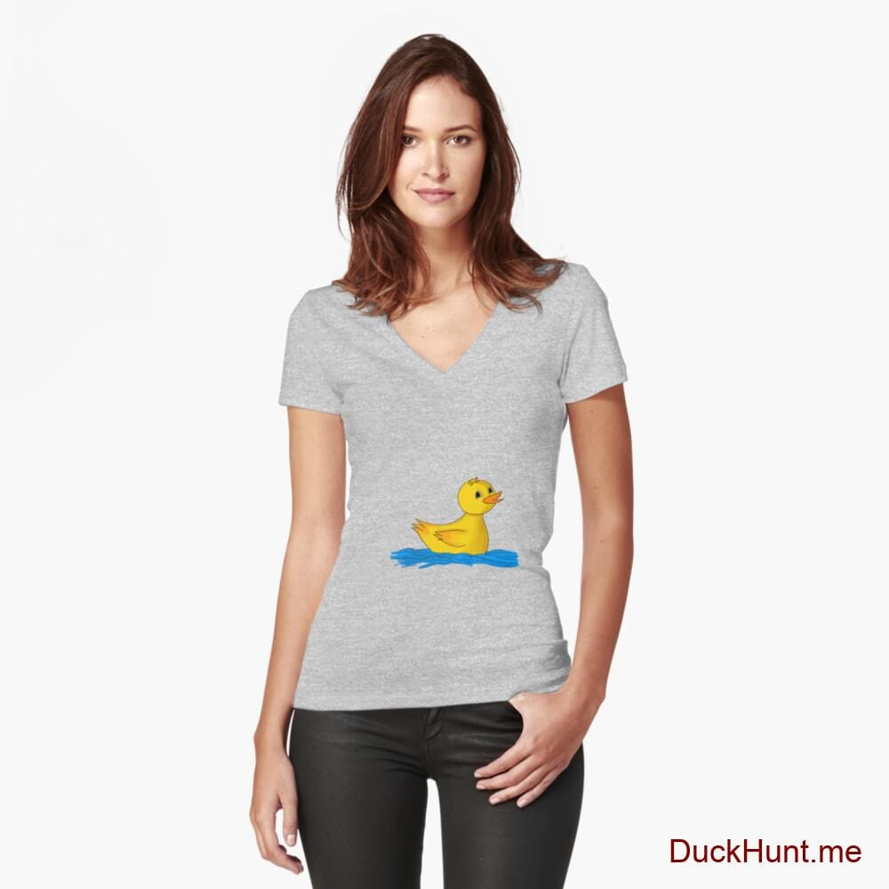 Plastic Duck Heather Grey Fitted V-Neck T-Shirt (Front printed)