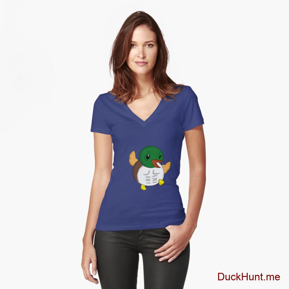 Super duck Blue Fitted V-Neck T-Shirt (Front printed)